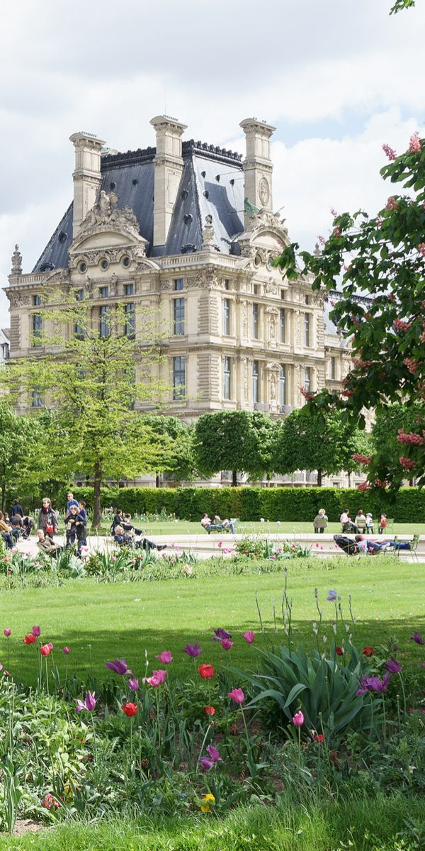 Louvre palace and Tuileries garden view in Paris