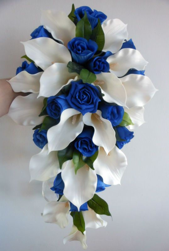 Blue roses and lilies