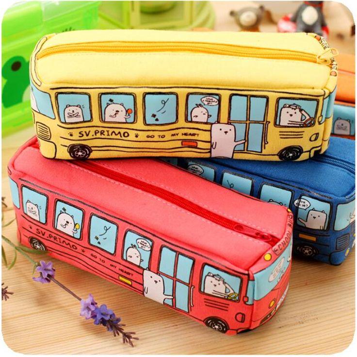 Form New Animal School Bus Stationery Canvas Pencil Case Storage Organizer Pencil Bag gift Office School Stationery supply
