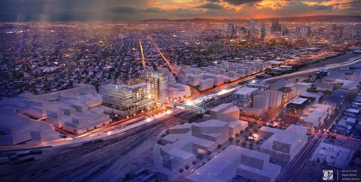 Rendering of aerial view of OZ Architecture's new World Trade Center Denver design