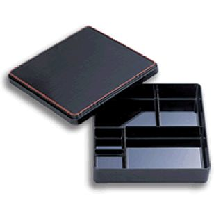 Bento Box Large      Availability : In Stock     Dimentions : 313mm x 257mm     Pieces Per Item : 2     Colour : Black with Red Trim     Material : ABS     Finish : Laquer     Item Code : D5-106     Weight : 750g