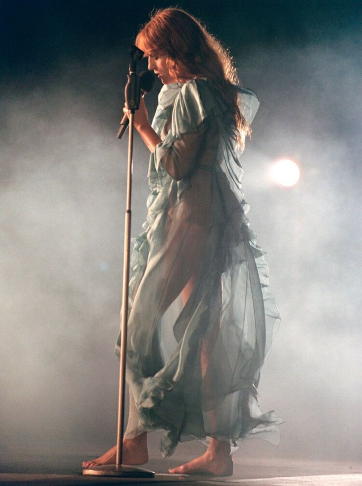 """Florence Welch. """"For the stage, it's The Lady of Shalott meets Ophelia...mixed with scary gothic bat lady."""""""