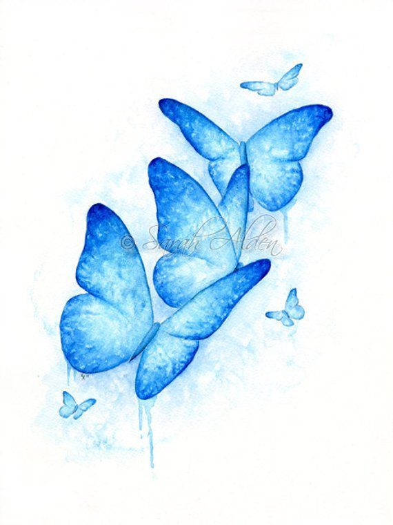 Blue Butterfly Print Butterflies Print Watercolor Butterfly