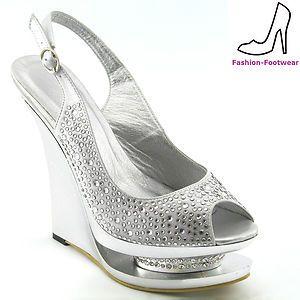 ladies silver diamante satin womens wedge heel bridal wedding prom party shoes