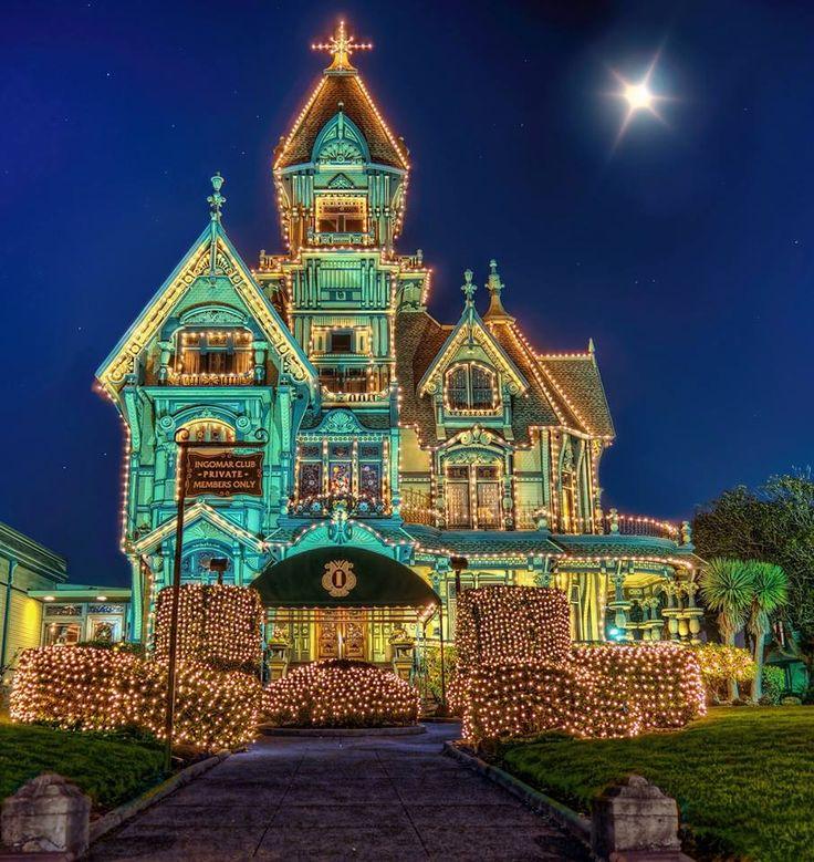 Lighted Carson Mansion Eureka California Christmas