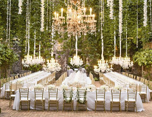 Charming FABULOUS Outdoor Wedding Lighting Via Layers Of Extravagant Chandeliers!