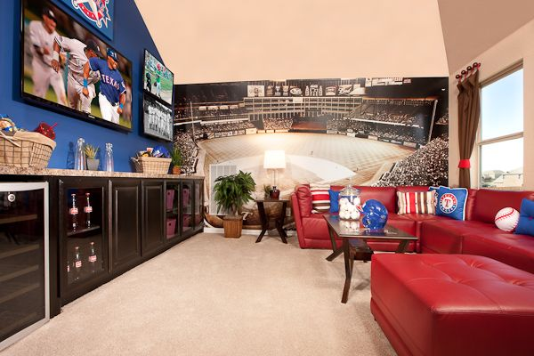 What do you think of this fun Rangers themed media space from Lennar Dallas/Fort Worth? #Texas #Rangers #baseball #room