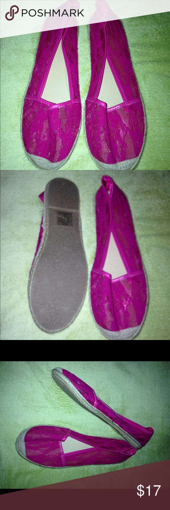 NEW Torrid Pink Espadrilles Shoes - Size 12 NEW Torrid Espadrilles. Size 12W.  Pink lace upper. Make an offer or save by bundling items! torrid Shoes Espadrilles