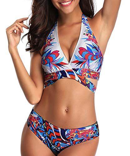 3e5c29245f Century Star Women Halter Bandage Bikini Set Push Up Boyshorts Swimsuit  Retro Two Piece Bathing Suits
