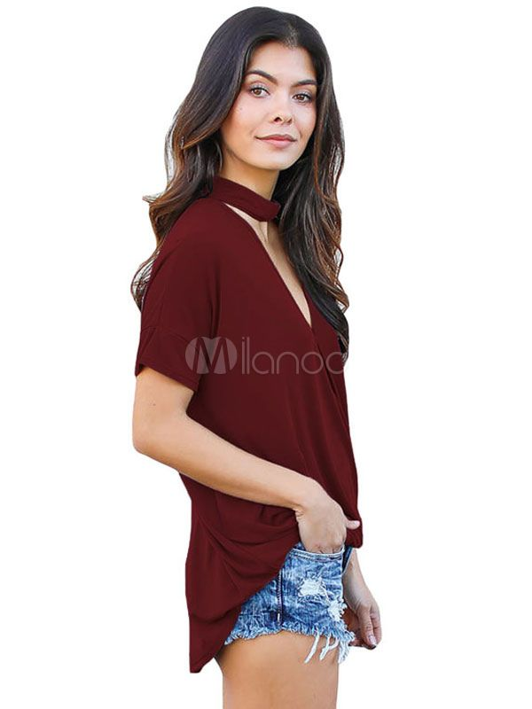 5392c84e Burgundy Choker T Shirts V Neck Women's Short Sleeve Summer Tee Shirt Tops # Neck, #Women, #Shirts