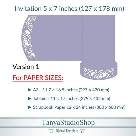 Tri Fold 5x7 Invitation Template Svg Ai Crd Etsy In 2021 Invitation Template Templates Fold
