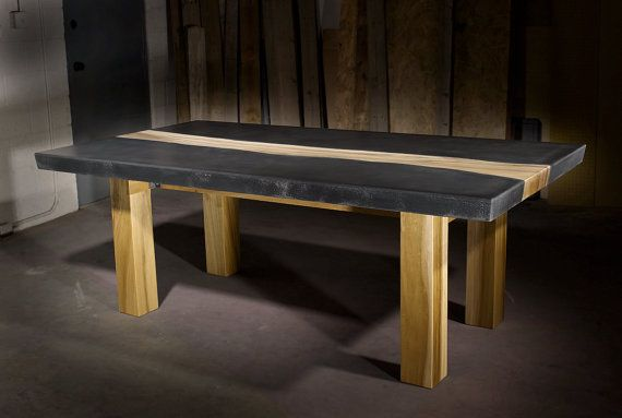 Concrete Table with Wood Inlay on Etsy, $3,997.44 CAD