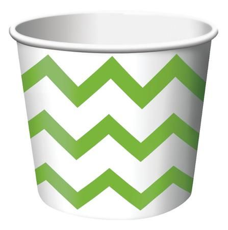 Lime Green Chevron Striped paper treat cups are the ideal size for serving snacks, ice cream, candy or filled with small party favors. Our Chevron striped paper treat cups are disposable and feature the popular chevron stripe pattern in Green on a white background. The paper treat cups are constructed from medium weight card-stock and will brighten up any spring event, birthday party, Baby shower or any other special occasion. Treat cups measure 2.5 Inches x 3.5 Inches and package contains 6…