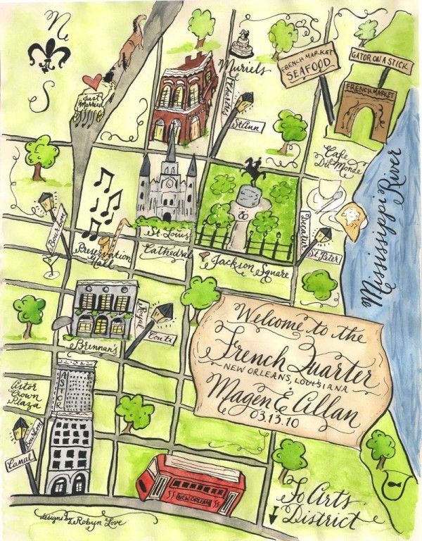 illustrated map of the French Quarter, NOLA