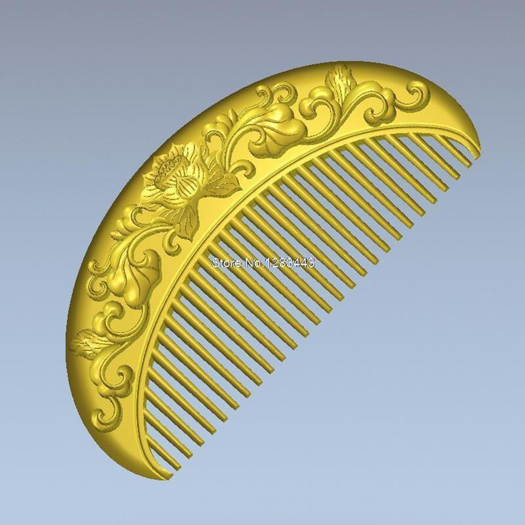 Comb with flowers 3d model relief  for cnc  in STL file format