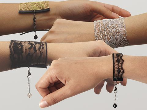 These would be incredibly easy to make. Lace cuff bracelets.