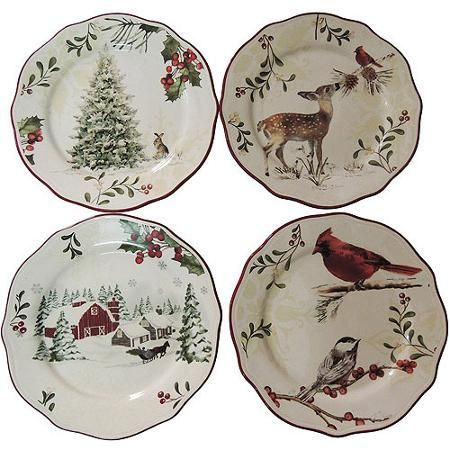 Better Homes and Gardens 12-Piece Dinner Plate Set, Holiday Assorted