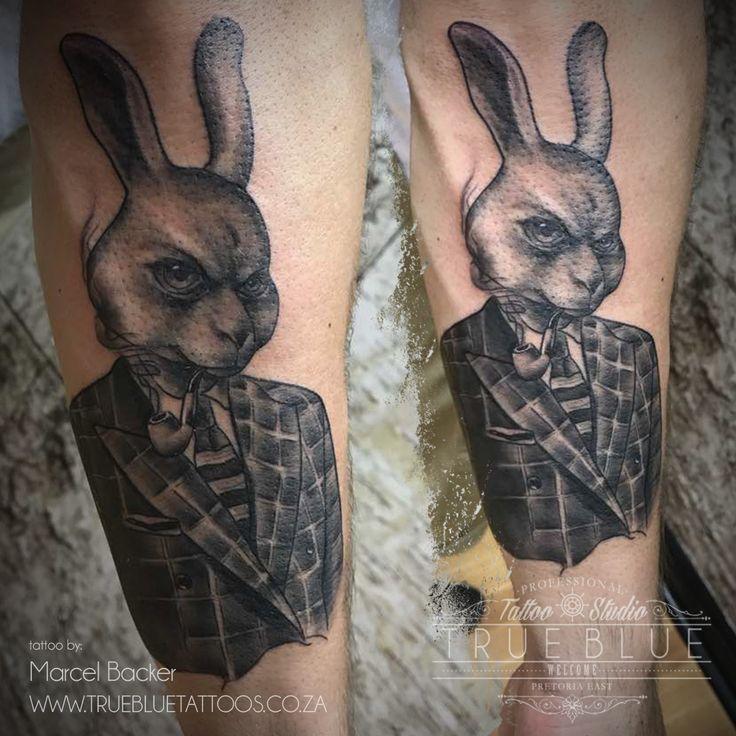 """Jump In Rabbit"" piece by Marcel Backer of True Blue Professional Tattoo Studio"