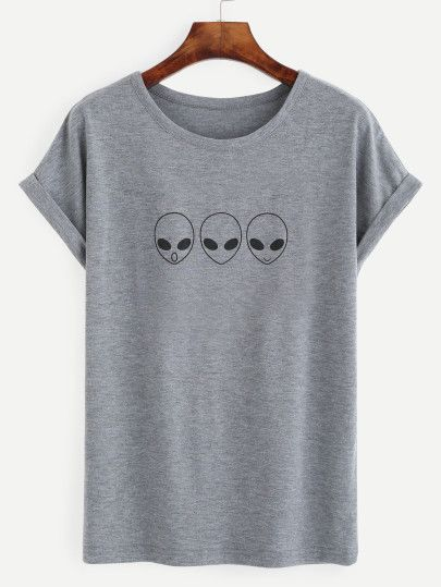Camiseta estampado extraterrestres - gris