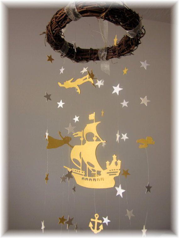 Gold Peter Pan Nursery Mobile Star Mobile Nursery by lovebirdslane