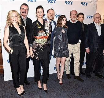 March 27, 2017 Amy Carlson, Tom Selleck, Bridget Moynahan, Donnie Wahlberg, Sami Gayle, Kevin Wade, Will Estes and Len Cariou attend the Blue Bloods 150th episode celebration at 92Y in New York City.
