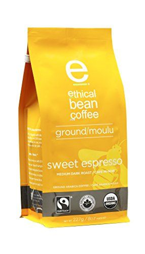 Ethical Bean Coffee Sweet Espresso: Medium Dark Roast Ground Espresso - USDA Certified Organic Coffee, Fair Trade Certified - 8 ounce bag #Ethical #Bean #Coffee #Sweet #Espresso: #Medium #Dark #Roast #Ground #Espresso #USDA #Certified #Organic #Coffee, #Fair #Trade #ounce