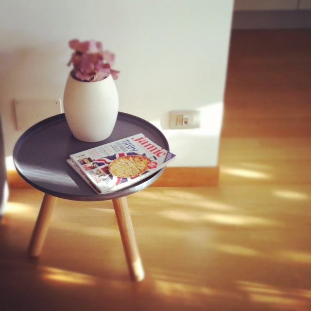 tablo table by Normann Copenhagen in our living room {and Jamie Oliver's mag} [from my iphone]