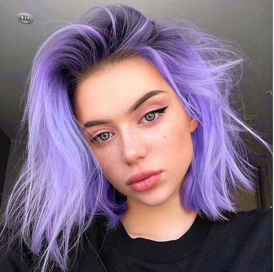 purple ombre hair; shoulder length