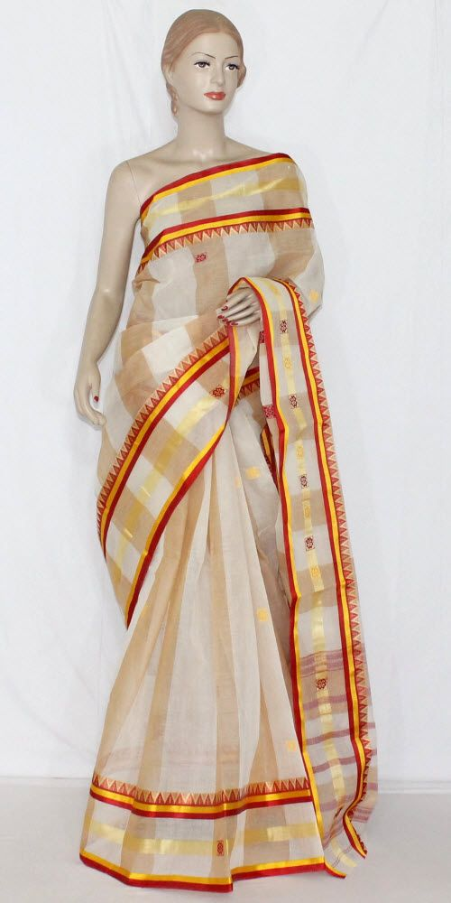 Off-White Red Handwoven Dhaniakhali Bengali Tant Cotton Saree (Without Blouse) 13946 , Buy Traditional Tant Sarees online, Pure Traditional Tant Sarees, Trendy Traditional Tant Sarees ,Traditional Collection , online shopping india, sarees , sweets, cameras, shoes, watches, appliances, apparel, sweets online in india | www.maanacreation.com