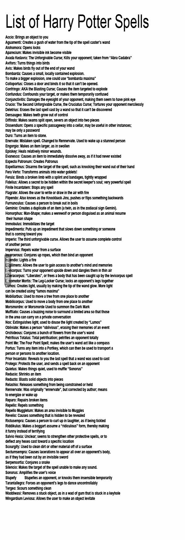 Harry Potter List of Spells and What They Do from 9gag.