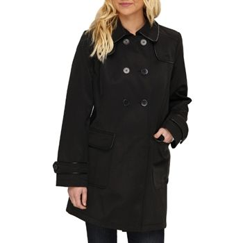 DKNY Women's Black Double Breasted A-Line Trench Coat