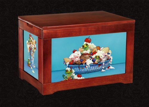 Toy Box-Ice Cream-McKee by Kelsey's Collection. $65.99. The McKee - Ice cream Sundae toy box is a small chest which is part of Kelsey's Collections family of chests and products that combine great art and function. Solid pine frame and top with a laquer finish with panels on all four sides to which giclee*  canvas art prints are stretched and glued, each print having 3 coats of UV inhibitor to protect and embellish the crispness of the art. The art is secured under exclusive...