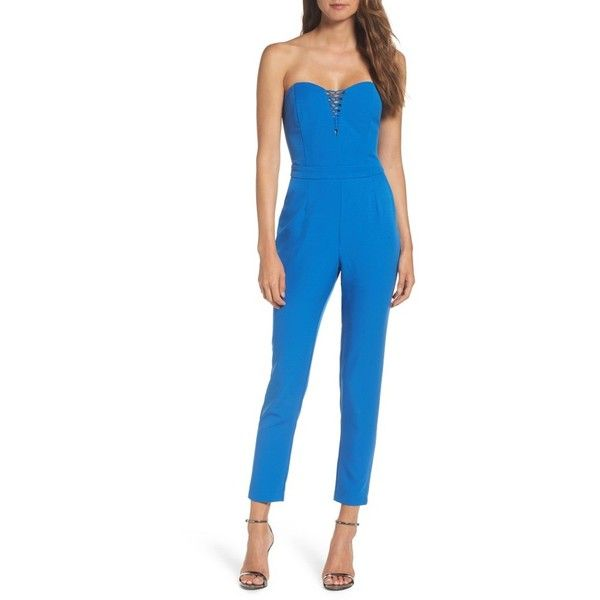 Women's Adelyn Rae Henley Strapless Jumpsuit ($96) ❤ liked on Polyvore featuring jumpsuits, pacific blue, blue corset, blue jumpsuit, strapless jumpsuit, plunge jumpsuit and adelyn rae