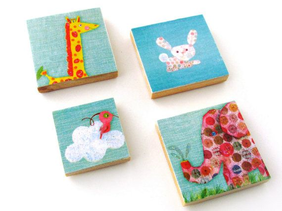 Animal Magnets  Set of Four Animal Magnets  Bird by WalterSilva
