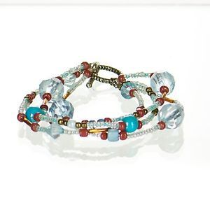 Multi-strand-Beaded-Bracelet-Teal-and-Brown-Southwestern-Style