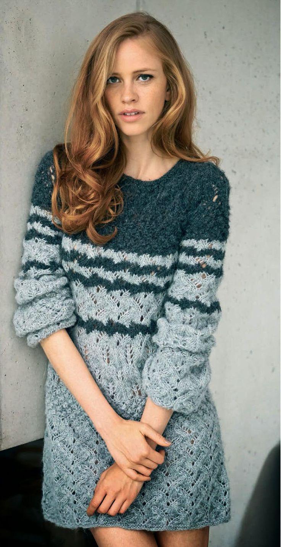 Зимнее платье спицами с ажурными узорами | вязание для женщин