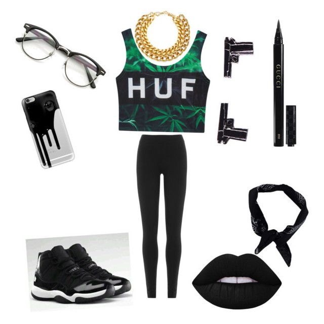 """""""Dark side"""" by jnbell on Polyvore featuring HUF, Gucci, Boohoo, Casetify, NIKE, A.V. Max, DKNY and Lime Crime"""