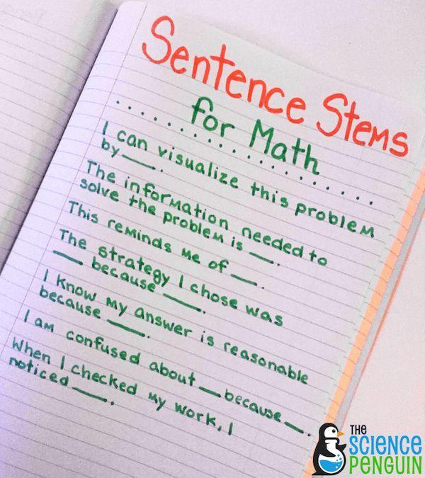 Math Sentence Stems