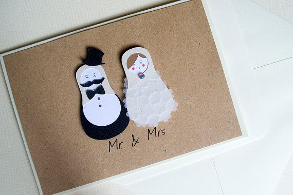 Mr. & Mrs.  Wedding Card by Le Petit Hibou on Etsy, €5.00