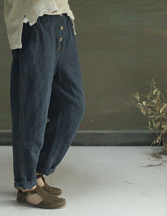 Dark blue loose casual long linen pants women flax by FashionGD