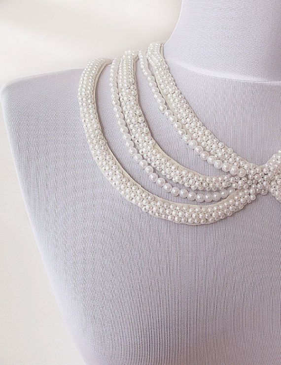 pearl collar necklace embroidery Peter Pan Collar by aynurdereli, $27.00 #pearl #collarnecklace