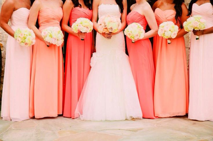 Long Chiffon Mismatched Bridesmaids Dresses Coral Themed