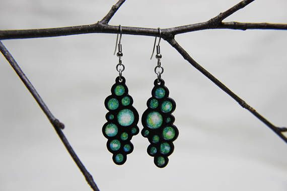 Blue Green and White Rice Paper Bubble Earrings