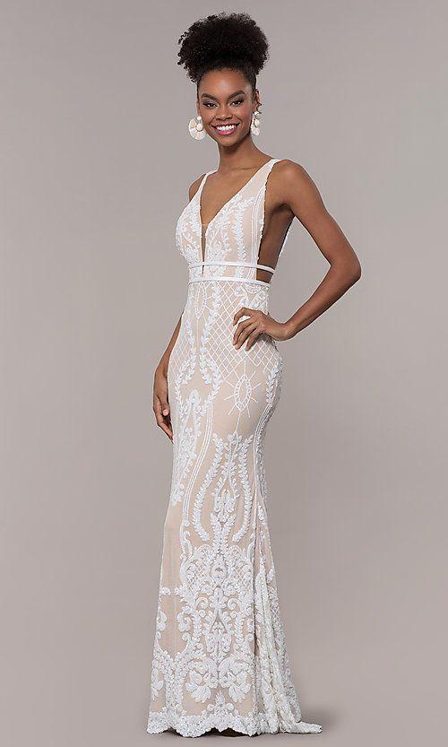 dcb55b3a031e Long Vintage-Inspired Sequin V-Neck Prom Dress | BEAUTIFUL DRESSES ...