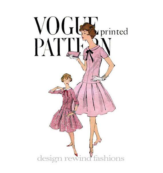 1950s VOGUE DRESS PATTERN Drop Waist Fit & Flare Dress Box Pleated Skirt Peter Pan Collar Vogue 9518 UNCuT Vintage Womens Sewing Patterns di DesignRewindFashions su Etsy https://www.etsy.com/it/listing/163428741/1950s-vogue-dress-pattern-drop-waist-fit