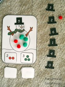 Snowman addition activity with the sum on the hat. So cute! #kindergarten Free!