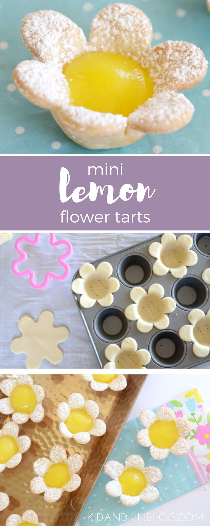Mini Lemon Flower Tarts. Perfect for Easter, brunch, tea parties or anytime! Kid + Kin.