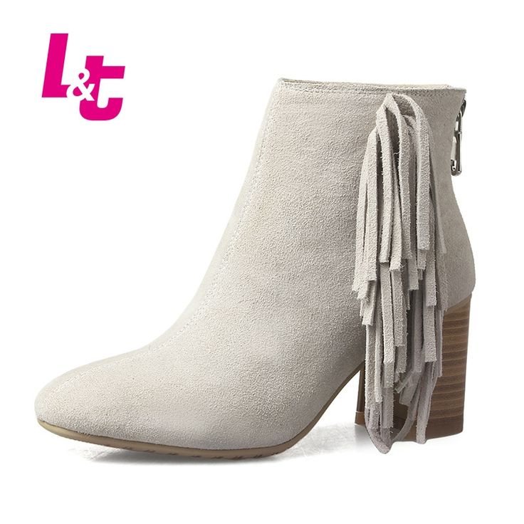 52.74$  Buy now - http://alir54.shopchina.info/go.php?t=32718744865 - L&T Winter women ankle boots suede sexy tassel fashion boots high quality PU/PLUSH Inside pointed toe ladies chelsea boots 52.74$ #shopstyle