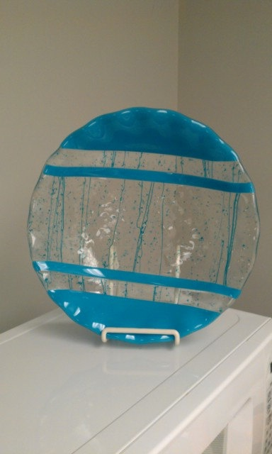 Fused Glass teal stripe with clear