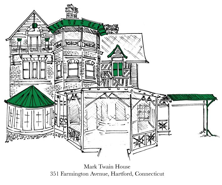 Writers' Houses Illustrated: Clemens 1835 1910, Architecture Meeting, House Illustration, Art, Twain House, Famous Writers, Samuel Clemens, House Projects, Mark Twain